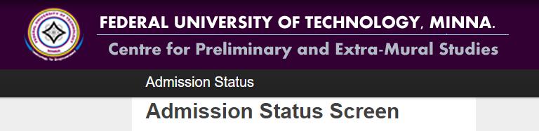 futminna pre-degree admission status