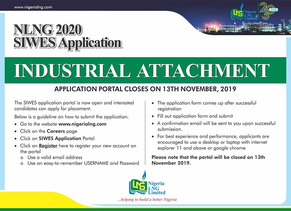 nlng siwes application 2020