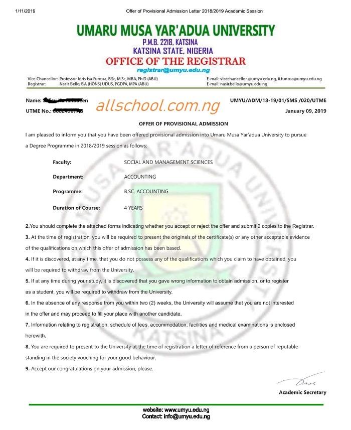 Sample of UMYU Admission Letter