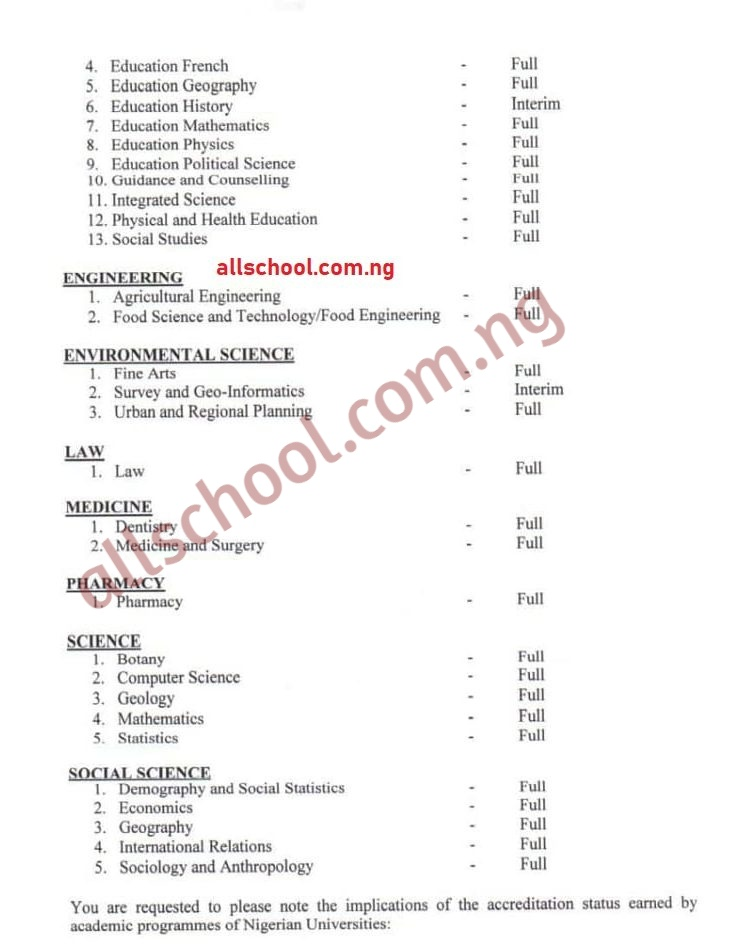 list of oau accredited courses 2020
