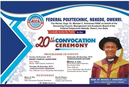 Nekede Poly 20th Convocation Ceremony Programme of Events