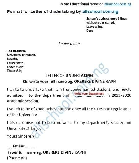unn letter of undertaking