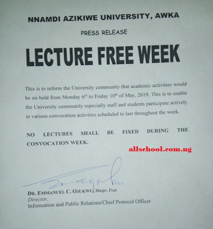 unizik lecture free day