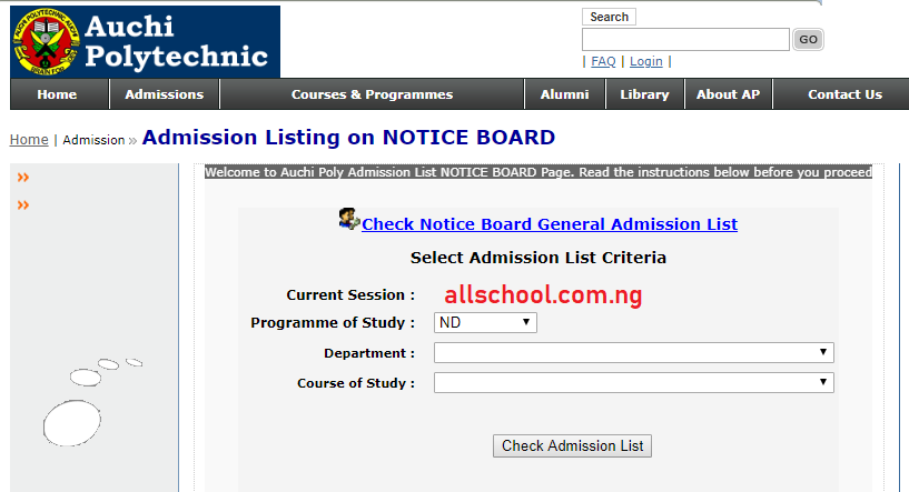 Auchi Poly Admission List for 2020/2021 Session is Out