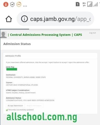fubk admission list caps