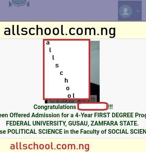 fugus admission list (jamb postal)