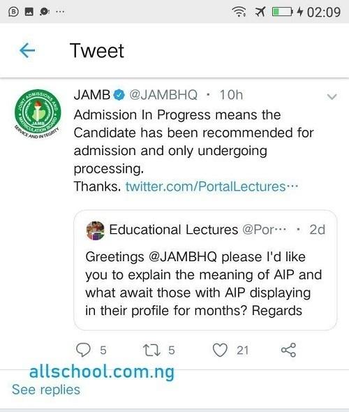 jamb admission in progress