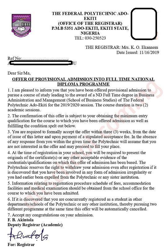 federal poly ado admission letter (sample)