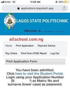 laspotech admission list on school portal