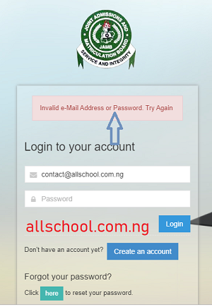 jamb caps showing wrong password