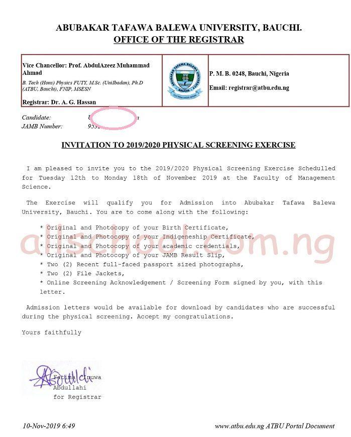sample of atbu invitation to physical Screening