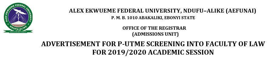 funai faculty of law post utme form