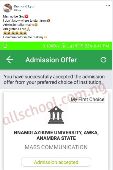 unizik admission list