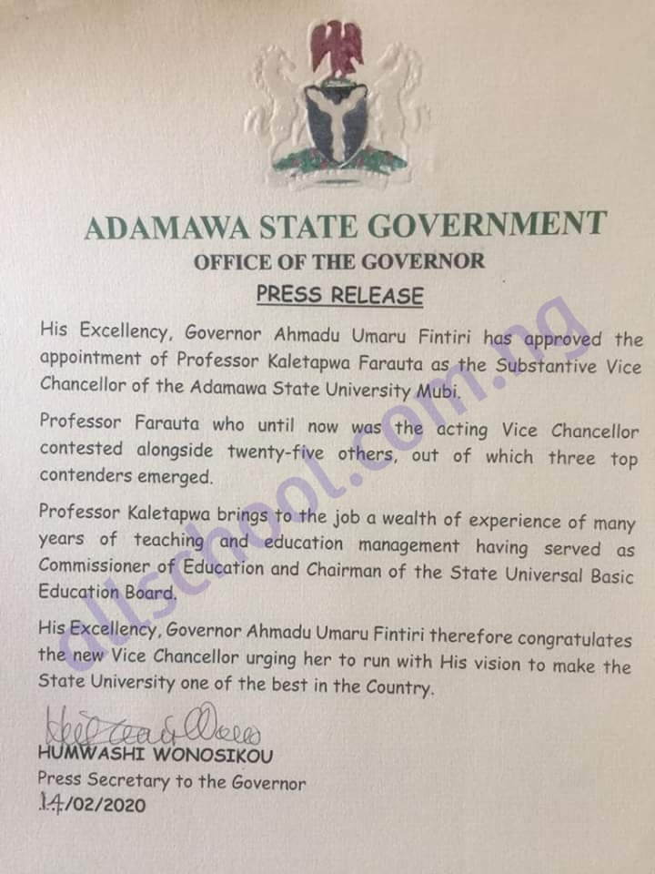 adsu new vice chancellor