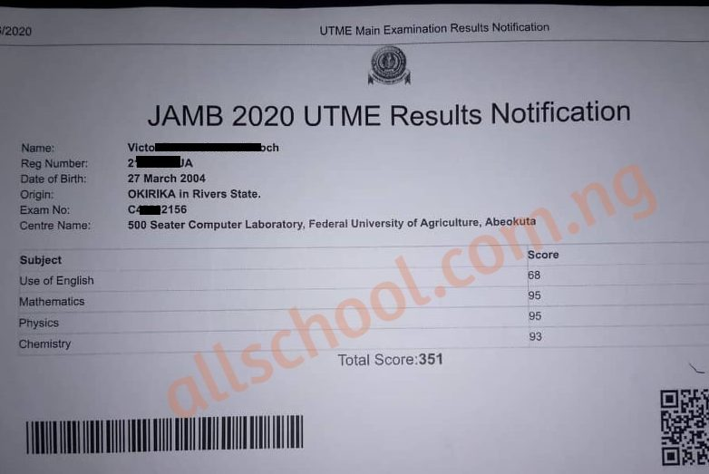 jamb highest score 2020