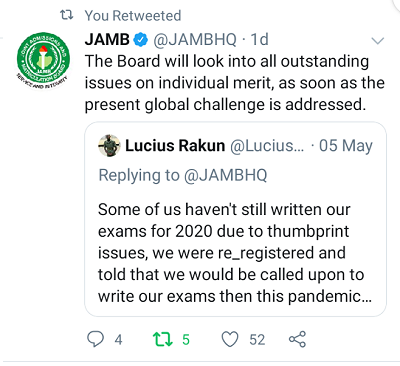 jamb candidates with thumbprint issues