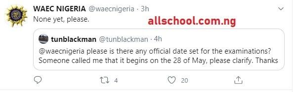 waec 2020 official date