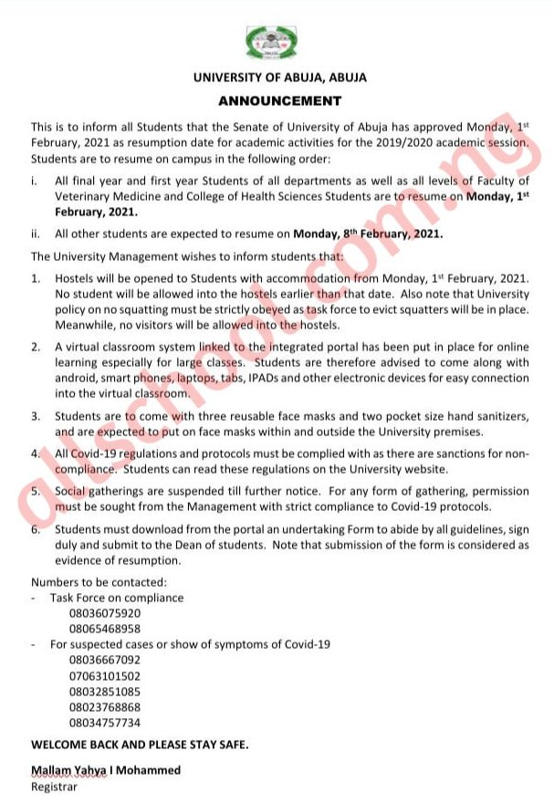 uniabuja resumption date for continuation of 2019/2020 session