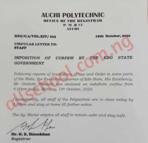 Auchi Poly directs all Staff to stay at Home until further Notice