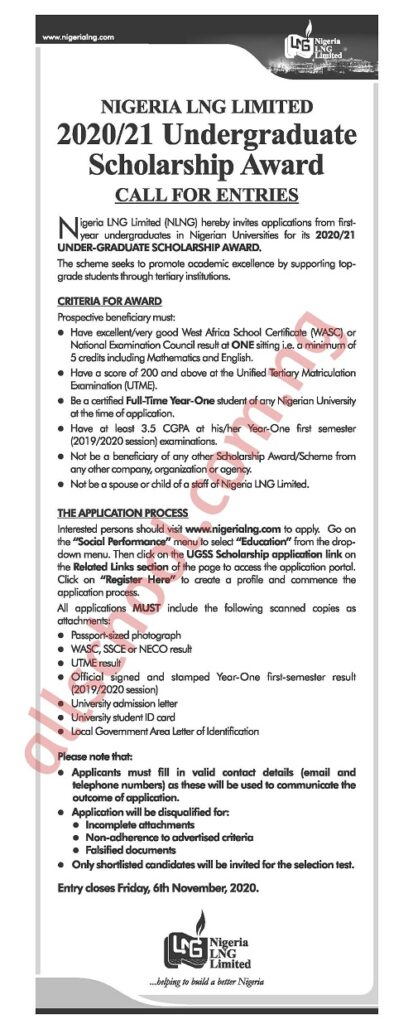 NLNG Scholarship (for 100 Level Students) 2020 is Out