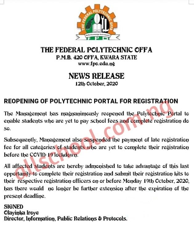 federal poly offa course registration deadline