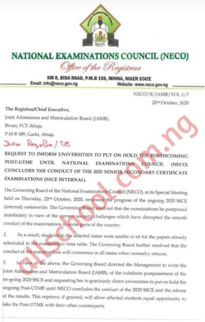 JAMB Orders Universities to Suspend Post-Utme until 2020 NECO SSCE is Over