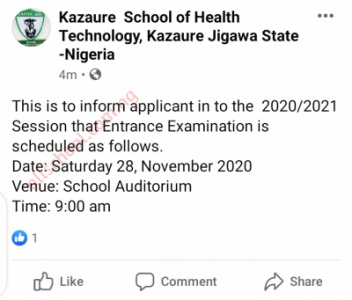 kazaure school of health entrance exam date