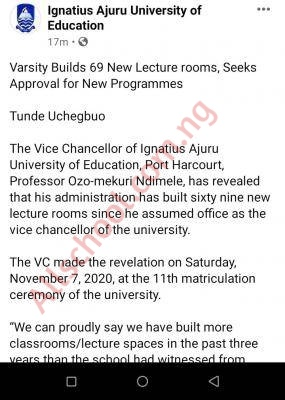 My administration has built 69 new lecture rooms - IAUE Vice Chancellor