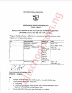 nigeria law school exam notice