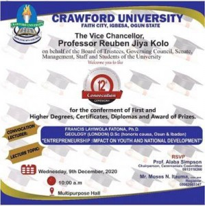 crawford university convocation date 2020