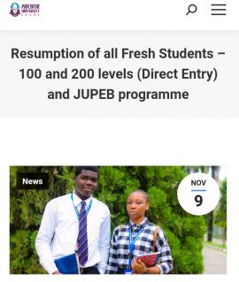 Anchor University Resumption date