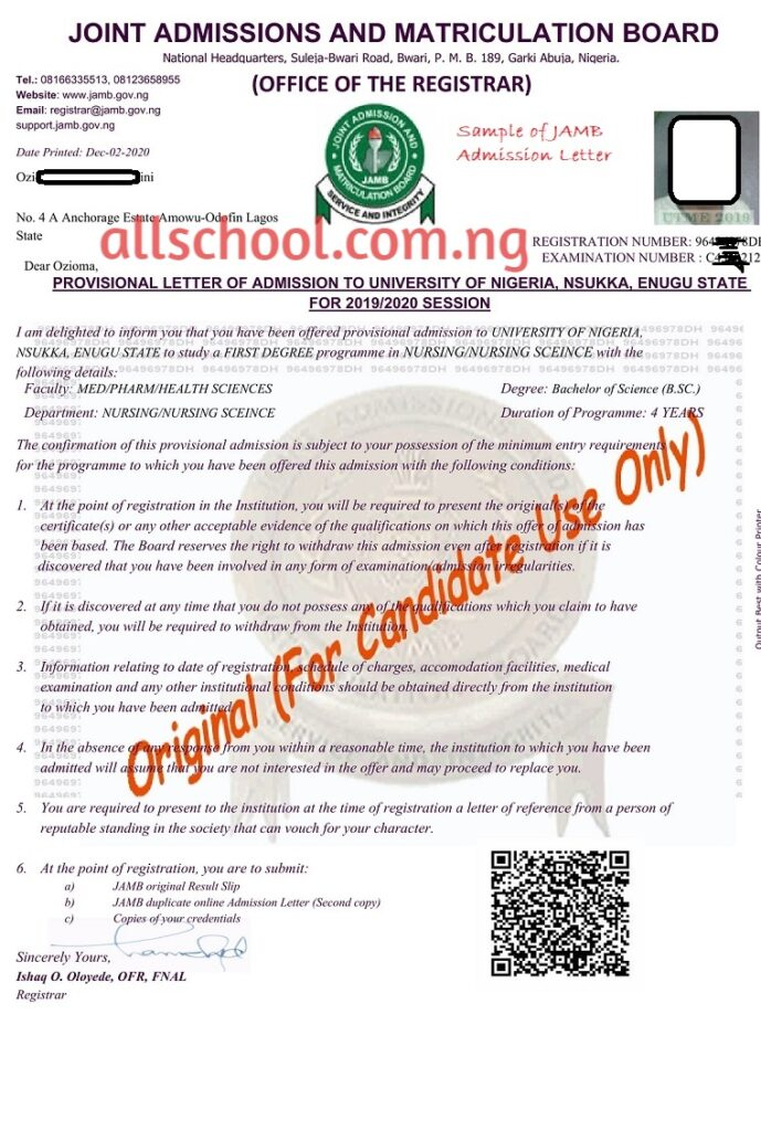 sample of jamb admission letter
