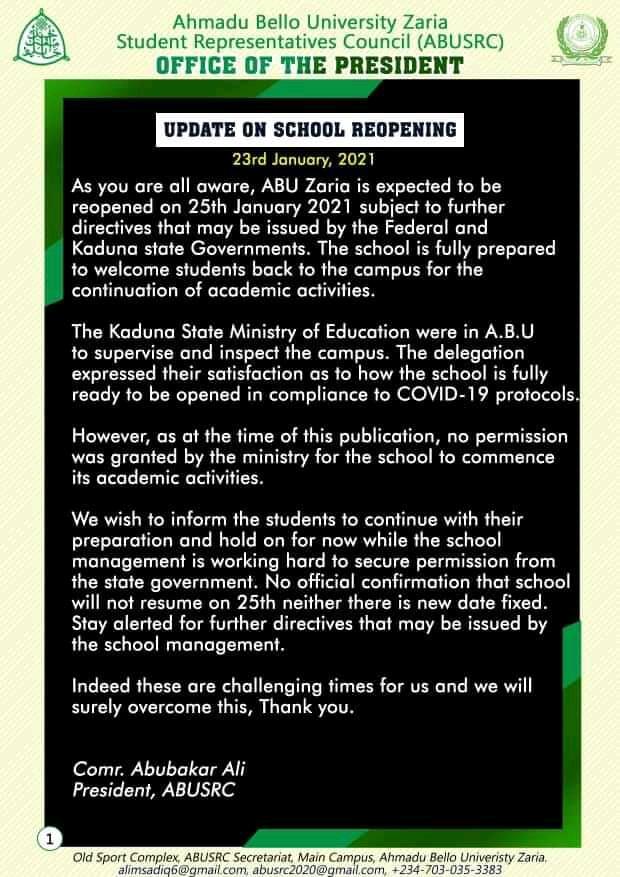 abu notice to students on resumption
