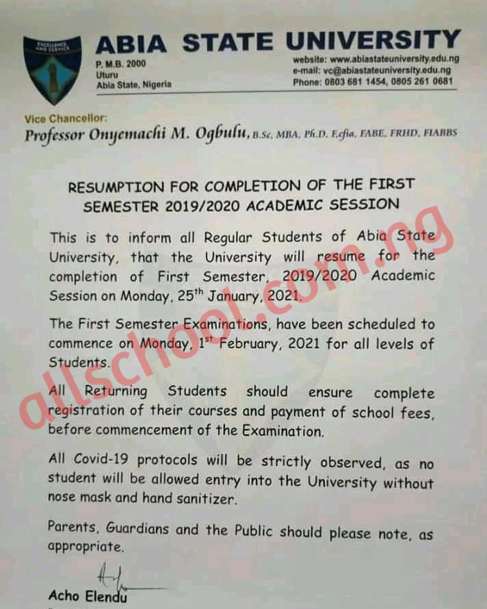 absu resumption date for continuation of 2019/2020