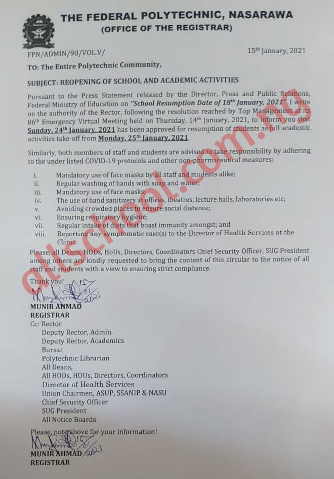 Federal Poly Nasarawa Resumption Date