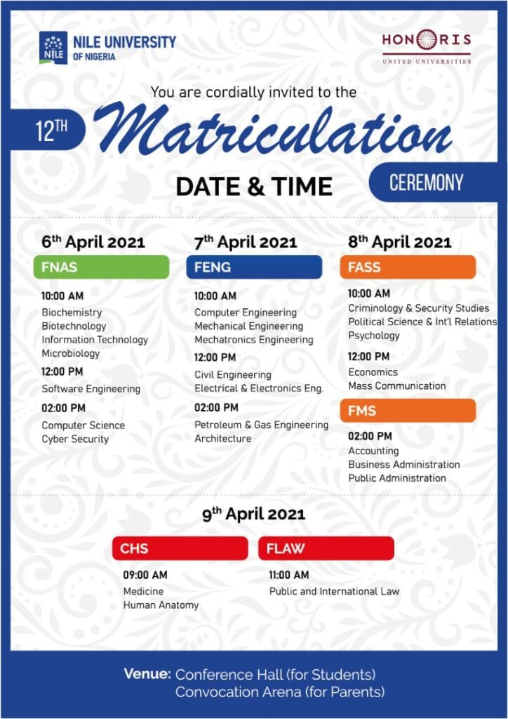 nile university of nigeria matriculation dates