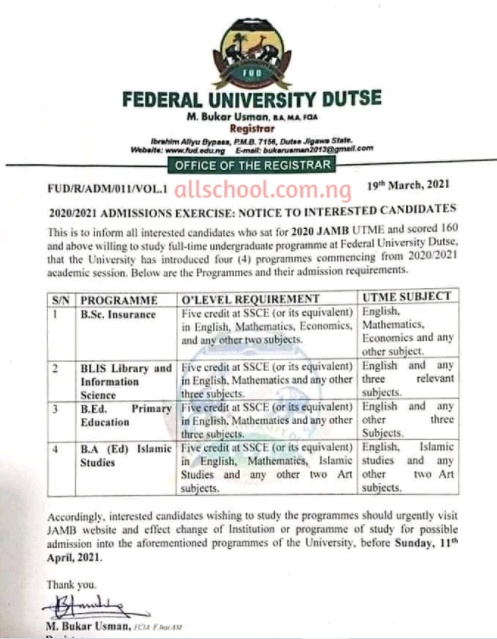 fud post utme form for new courses 2020/2021